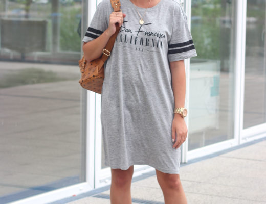 T-shirt dress and lace-up sandals Hip-hop girl yeah! I don't know why I felt like this when wearing this look, maybe its just because of my new t-shirt dress and the not inconspicuous jewelry in rosé gold. Luckily I found my very old lace-up sandals again...